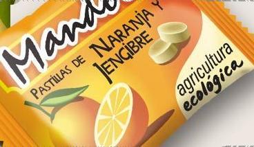 pastillas o caramelos de jengibre y naranja